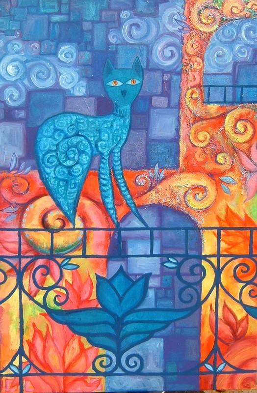 le chat sur le garde fou, acrylique sur toile