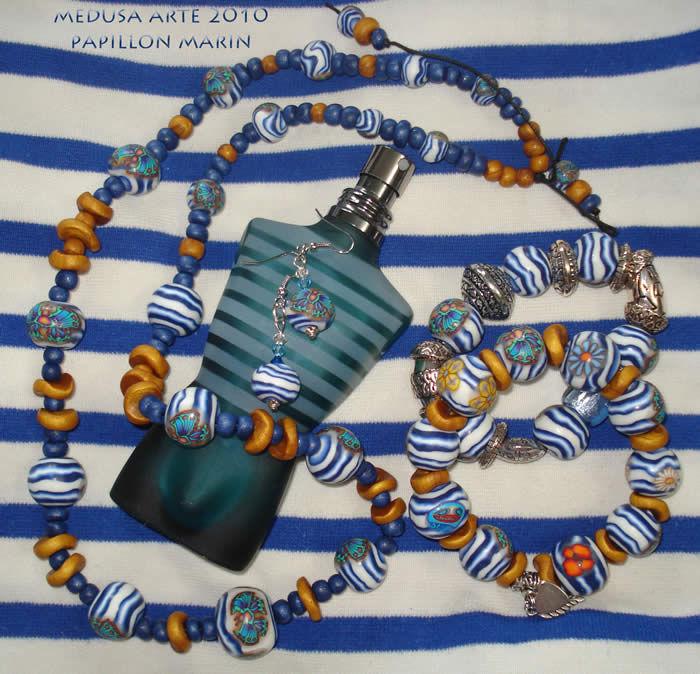 collier marin en fimo sur marinière st james et parfum Gauthier