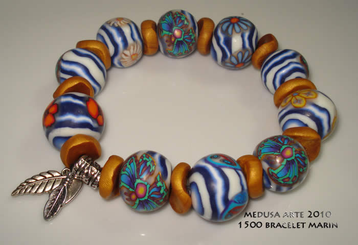 bracelet fimo motif marinière