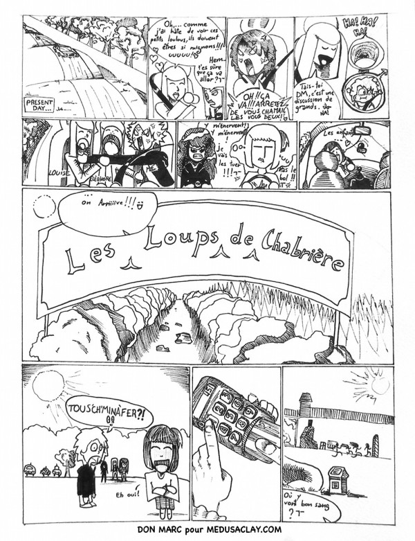 "BD by Don Marc, page 1, untitled ""balade au parc des loups"""