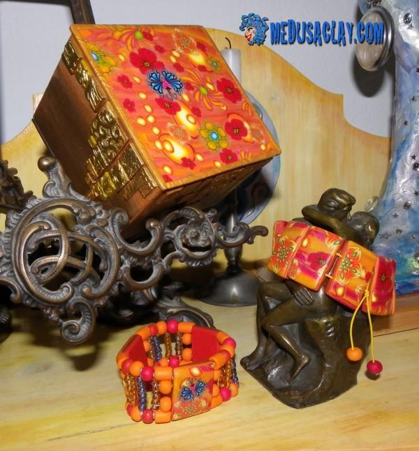 Boîte à bijoux customisée FIMO et résine