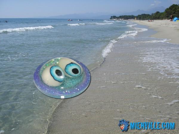 dérivation de la méduse à gros yeux fluos et paillettes sur la plage de Ghisonaccia en Corse